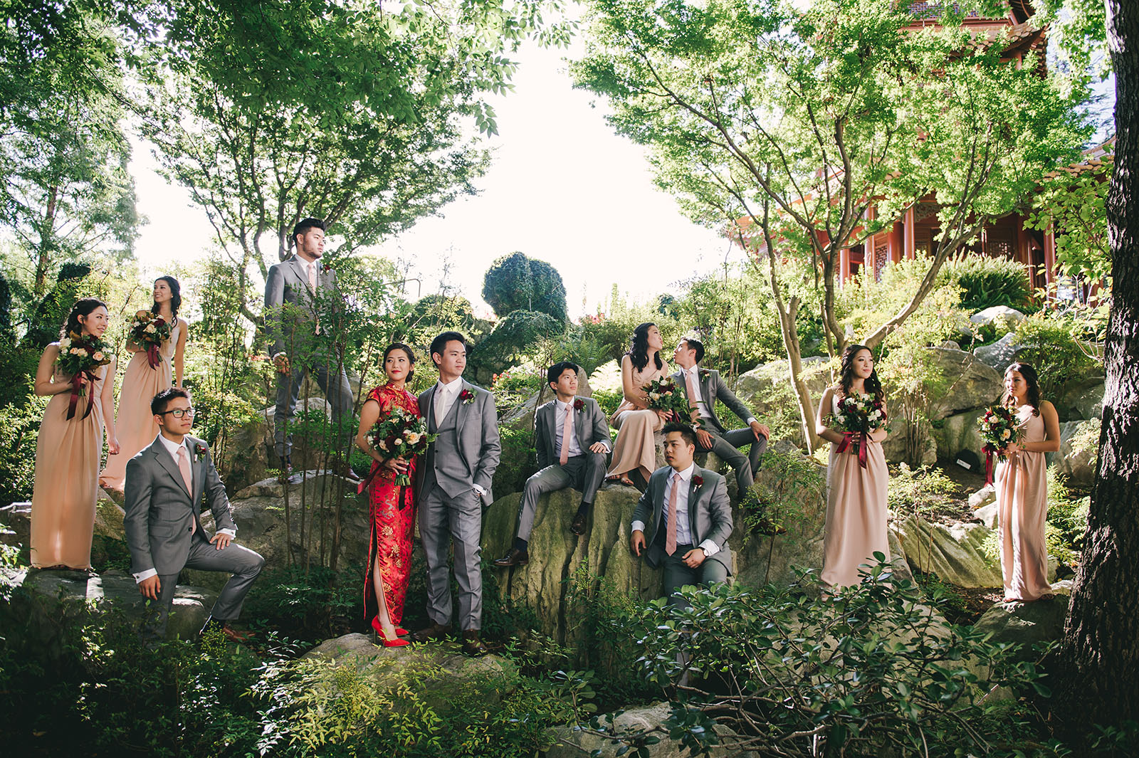chinese garden bridal party